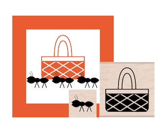 Picnic Basket and Ant Rubber Stamp Set