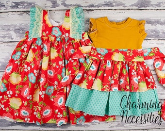 Big Sister Little Sister Set, Sibling Outfits, Twins, Knit Top Dress and Double Flutter Dress by Charming Necessities Truly Jane