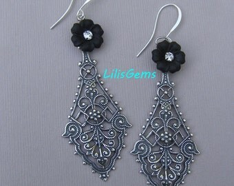 Long Bohemian Boho Earrings, Silver Filigree Long Earrings,  Vintage Rhinestone Earrings, French Jet Black Flower Jewelry