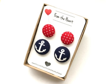 Fabric Button Earrings, Nautical, Navy, Stud Earrings, Post, Anchor Earrings, Red, Polka Dot, Button Jewelry, Accessory
