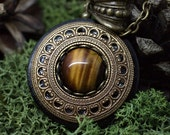 Protection Necklace Pendant 'Amddiffyn' Amulet Tiger's Eye