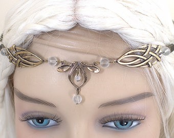 Érin Celtic Circlet Medieval Faery Tiara Bronze Frosted White