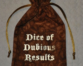 Dungeons and Dragons game DUBIOUS dice bag