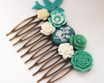 Harmony Teal Cluster Cameo Hair Comb Wedding Formal Fascinator Kitschy Cool Punk Offbeat Bride
