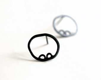 Circle Posts, Circle Stud Earrings, Black Circle Studs, Black Circle Earrings, Modern Studs, Round Earrings, Sterling Studs, Minimalist,