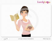 Woman reading book, holding books, character clipart digital PNG clip art (Carly 633)
