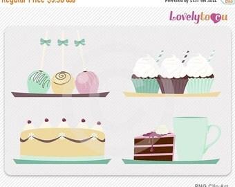 SALE Dessert clip art set, baked cakes, cake pops, digital PNG clip art (070)