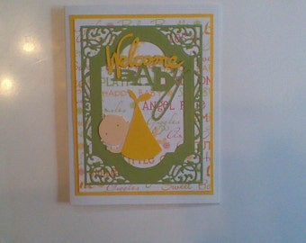 Baby welcome card yellow and green