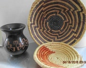 A SMALL SIOUX Pottery Piece and Two  Small Hand Made Baskets