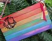 Gay flag, Rainbow stripes, rainbow flag, recycled wood, lesbian, gay, LGBT, home decor, wall hanging, gay pride, rainbow art, peace art,A100