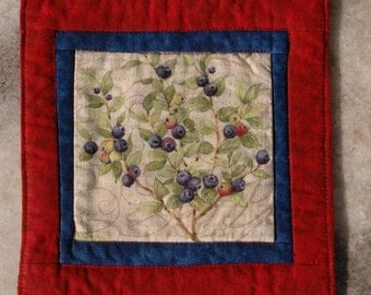 Summer Berries Mug Rug Coaster or Mini Quilt