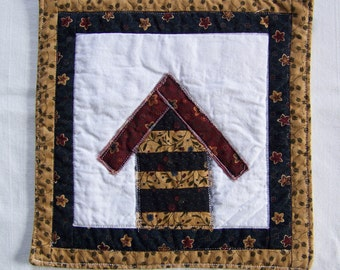 Crazy Town Scrappy Cottage  Mini Quilt  Mug Rug or Coaster #2