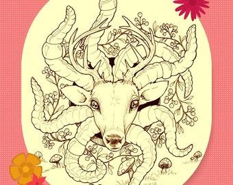Deer God Adult Coloring Book Page Digital File Instant Download Print At Home