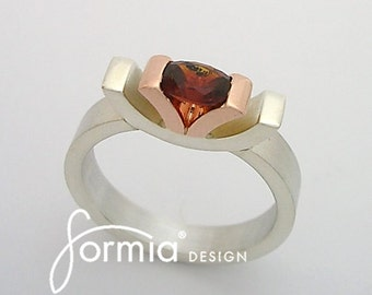 Engagement ring in silver and gold with Madeira citrine