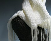 Handwoven Silk and Wool Scarf: Flying Above the Clouds