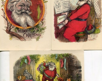 Christmas Vintage Postcard lot of 3 Nash Santas- Santa Claus postcards -- Santa with pets, Santa playing piano, smiling Santa