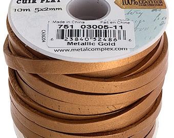 One Foot Flat Leather Cord - Metallic Gold 5x2mm (511)