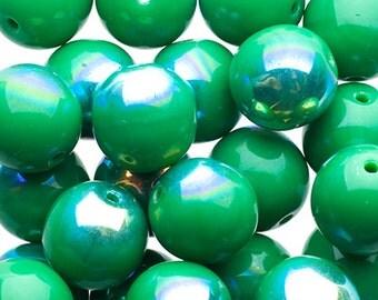 25pcs Czech Pressed Glass Druk Round-Opaque Green AB 8mm (PG5080-1601)