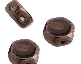 30 Pieces Czech Hexx Beads - 2 Hole - Chocolate Bronze - 6mm (8813004)