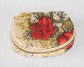 50s 60s Vintage Silk Makeup Case with Red Roses