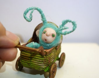 ooak poseable  tiny new born baby bug fairy in a buggy   ( # 5 ) polymer clay art doll by DinkyDarlings elf pixie faery