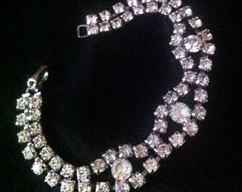 Sparkly 1950s early 1960s Rhinestone Bracelet . Faux Diamond Bridal Wedding Costume Jewelry . Bling Vintage Art Deco Style Silver Tone
