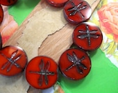 Czech Round Dragonfly 17mm Orange Glass Beads - 10 Count