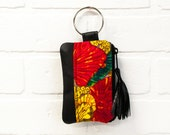 recycled black leather keychain, vintage print, wallet, coin purse, key ring, key pouch, tassel, card holder, handmade, upcycled, stacylynnc