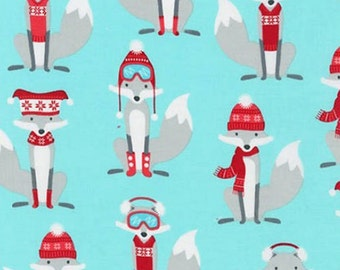 Three (3) Yards - Polar Pals Fox Winter Snow Fabric by Robert Kaufman Fabrics AHE-15965-70 Aqua