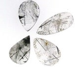 4 Black Rutilated Quartz pear cabochons, wholesale lot, 172.01 carats total              WHGC0098