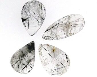 4 Black Rutilated Quartz pear cabochons, wholesale lot, 172.01 carats total              WHGC0098