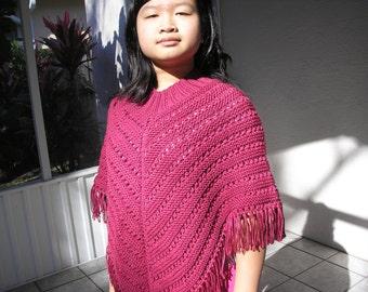 Knitted Poncho, Junior Girl - Raspberry