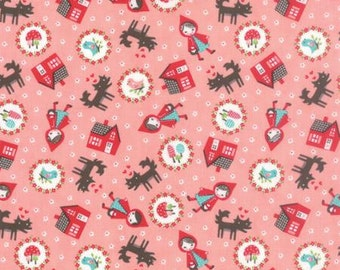 FABRIC LIL RED Riding Hood Toss Print on Pink 1/2 Yard
