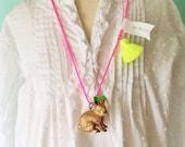 Rabbit Necklace Neon Jewelry Tassel Necklace Easter Bunny Gift Easter Jewelry Girls Rabbit Necklace Spring Jewelry
