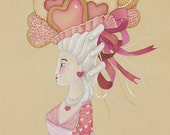 French Valentine's Day Cards Valentine Cookies Cards Set Valentines for Friends Heart Shaped Marie Antoinette Valentines Pretty Valentines