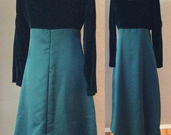 Green Velvet Full Length Gown, Vintage Emerald Green Empire Waist, FIONA Costume