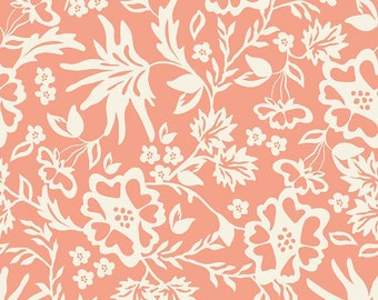 Apricot Floral Peach Cotton Fabric  for Riley Blake - 1 Yard