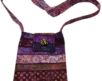 Small Batik Purse in Purple Batiks with Adjustable Straps