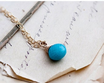 ON SALE Turquoise Necklace, Turquoise Pendant, December Birthstone, Turquoise Jewelry, 14K Gold Filled, Resort Jewelry, Birthstone Jewelry,