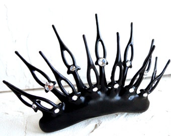 Labyrinth ball tiara goth steampunk tiara made with black Clock hands spike perfect for evil queen noir bride unique wedding or vampire ball