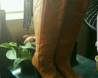 Vintage Style Cowgirl Riding Boots