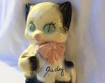 """AUTUMN SALE CERAMIC Cat Wall Decor Vintage Kitten Kitchen plaque personalized """"judy"""" black and white"""