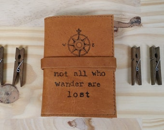 Small Leather Journal - Leather Sketchbook Cover - Personalize - Monogram - Not All Who Wander Are Lost