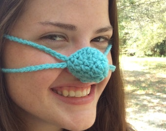 Aqua Nose Warmer, Nose Cozy, Crochet, Tween, Teen, Adult, Gag Gift, Nose Mitten, Vegan Friendly Yarn,
