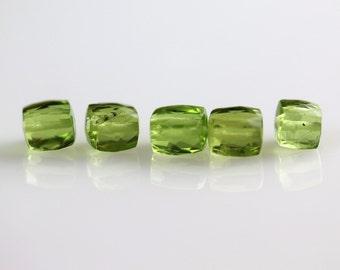 Faceted Peridot Beads - 4mm Cubes - Peridot Beads - Set of 5