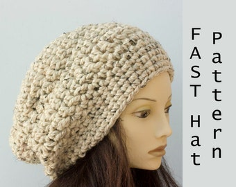 Chunky Slouchy Beanie Crochet Pattern, Slouchy Hat Pattern, Fast, Easy Pattern, Instant Download, Hat PDF Pattern