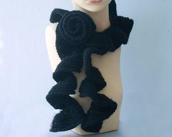 Ruffle Scarf, Flower Scarf, Flower Scarf Pin,  Hand Crochet Scarf, Custom Scarf, Wool Winter Scarf, Woman's Scarf