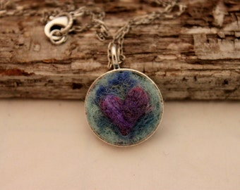 Felted Heart Necklace,Heartscapes Pendant Necklace, Needle Felted Heart  Necklace, Silver Heart Necklace #1679