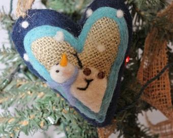 Snowman Heart Ornament Needle Felted Prim Snowman Heart Felted on Burlap #762