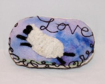 Sheep Needle felted Sheep Pin Cushion  I Love Ewe Pin Keep #1457